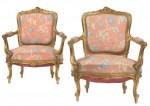 Paar Fauteuils, modifzierte französische Louis XV Stilform 19/20. Jh, Rufpreis € 500