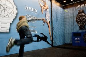 Am Rado-Smash-Corner können Besucher die Härte ihres Aufschlags testen